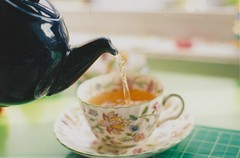 Tea of Life (Eleanor Bolt) Tags: sunshine vintage tea teapot haddonhall filmphotography