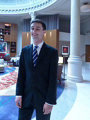 Handsome David (Kombizz) Tags: portrait david hotel columns scottish singer pillars classicmusic cityoflondon 1050563 smartyoungman kombizz threadneedleshotel smilingdavid dutymanager threadneedlesstreet scottishdavid handsomedavid