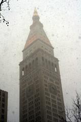 Met Life in snow (aaronvandorn) Tags: newyorkcity snow snowstorm january digitalcamera madisonsquarepark blizzard metlifetower snowday manualprime rokkor45mmf2 sonynex6