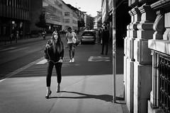a girl and her shadow (gato-gato-gato) Tags: street leica bw white black blanco monochrome person schweiz switzerland flickr noir suisse sommer strasse zurich negro streetphotography pedestrian rangefinder august human streetphoto monochrom zrich svizzera sonne weiss zuerich blanc manualfocus schwarz freitag onthestreets passant mensch sviss feierabend zwitserland isvire zurigo streetphotographer nachmittag fussgnger manualmode zueri strase streetpic messsucher manuellerfokus gatogatogato fusgnger leicasummiluxm35mmf14 gatogatogatoch wwwgatogatogatoch streettogs mmonochrom leicammonochrom tobiasgaulkech