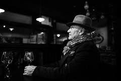 Wine and dreams (Giulio Magnifico) Tags: portrait man beautiful beauty smile hat closeup blackwhite wine streetphotography soul dreams emotions powerful soulful osteria udine nikond800e sigma35mmf14art