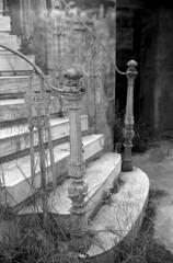 Forgotten places (Nikos.K.) Tags: old blackandwhite film stairs rangefinder athens greece staircase forgotten 135 ilford xtol starway 2016 rodenstock ilfordpan100 pan100 heligon kodakretinaii kodakxtol film:brand=ilford film:iso=100 developer:brand=kodak developer:name=kodakxtol film:name=ilfordpan100 rodenstockheligon5cmf2 filmdev:recipe=10802