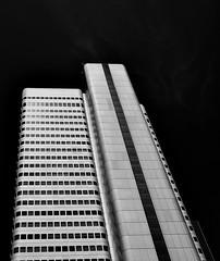 """""""Mainhatten"""" (ericgrhs) Tags: city bw skyscraper hessen frankfurt mainhatten hochhaus wolkenkratzer ffm"""
