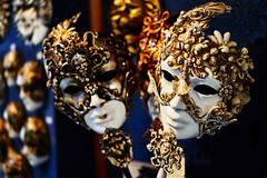 Marble Masks of Venice (justsamuraj) Tags: new old city travel italien carnival blue venice light people italy orange brown color macro art classic yellow statue contrast digital costume reisen mask handmade kultur creative culture mysterious marble tradition venezia venedig karneval handwerk maske kreativ maskenball marmor kostm