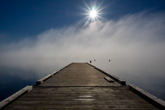 Away (Jens Haggren (off for a while)) Tags: sea sky sun mist seascape sunrise sweden jetty olympus em1 nacka