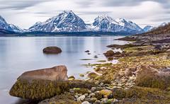 Lyngen Alps from Breivikeidet (Explore) (kkorsan) Tags: longexposure sea seascape mountains norge seaside shoreline fjord nordnorge troms troms lyngen breivik breivikeidet lyngenalps iskardtindene