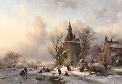 Frederik Marinus Kruseman - private collection. A Winter Landscape with Skaters Near a Castle (1859) (lack of imagination) Tags: trees winter people house castle animals landscape blog skating privatecollection 15002000 frederikmarinuskruseman