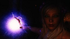 TESV - Cave light(ning) (tend2it) Tags: kenb elder scrolls skyrim v rpg game pc ps3 xbox screenshot sweetfx enb krista demonica race sg lilith 161 felicia dress white pearl magic dual wield string cave dark lighting arcane lightning