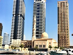 Oasis amongst the Giants (MaliaD) Tags: architecture marina dubai minaret mosque dubaimarina tallbuildings smallmosque