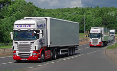 William Gracie of Larkhall Scania R560 SK12MWU and MX07JXG on the A90, Dundee 20/6/16 (andyflyer) Tags: transport lorry a90 haulage hgv roadtransport larkhall scaniar560 williamgracie sk12mwu mx07jxg