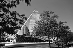 Milwaukee Art Museum - Quadracci Pavilion - Milwaukee WI (Meridith112) Tags: summer blackandwhite bw white black art june wisconsin mono blackwhite nikon midwest postmodern lakemichigan calatrava milwaukeeartmuseum milwaukee mam wi santiagocalatrava lakefront 2016 quadraccipavilion windhoverhall burkebrisesoleil nikon2485 nikond610 remainbridge