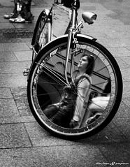 Mirroringbike (dalibor.papcun) Tags: people bw woman streets bike mirror krakow cycle mirroring monochromat stphotography