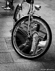 Mirroringbike (dalibor.papcun) Tags: people bw woman streets bike mirror krakow cycle mirroring monochromat stphotography