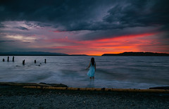 My Heart Is The Sky Before The Night (Amanda K. White) Tags: selfportrait selfportraittherapy explore upperleftusa pnwonderland brbchasinglight sunset water ocean pugetsound canoncamera canonphotography pnwisbest outside slowshutter longexposure