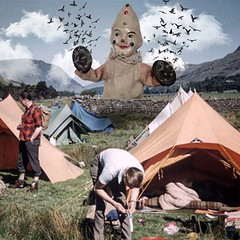 Strange weather we're having (Flamenco Sun) Tags: countryside retro weird bizarre surreal flock flick birds dark camping clown