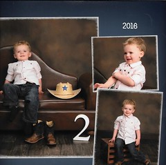 It's Tough Being TWO ..... (~ Cindy~) Tags: two hat collage toddler child boots jeans grandson grandchild caleb cowboyhat 2years 2016 woodencrate toughlittleman