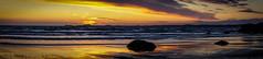 Druidston Descent (dolbinator1000) Tags: sun sunny sunset set beach coast sand rock rocks rocky wave waves wavy twilight dusk golden blue hour evening cloud clouds cloudy horizon druidston pembrokeshire wales uk pano panorama panoramic land scape landscape