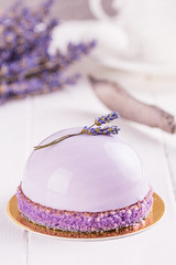 Lavender mousse cake (Aleksa Torri) Tags: morning flowers wedding summer food white cake closeup modern pie french dessert cuisine restaurant mirror wooden spring cafe european purple sweet background traditional decoration cream violet lavender mini fresh patisserie glaze sphere pastry valentines romantic portion concept technique luxury confectionery baked mousse glazed glazing confection decorated elegance gelatin shallowfocus glyassazh