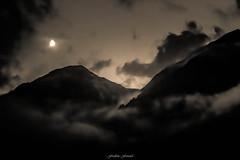 Douce Nuit en Vanoise (M) (Frdric Fossard) Tags: art nature alpes lune lumire ombre ciel sombre savoie nuage paysage soir nuit nocturne brume calme luminance spia ambiance pralognan valle vanoise claircie montange atmosphre cimes