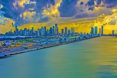 View of the skyline of Miami, Florida, U.S.A. /  The Magic City (Jorge Marco Molina) Tags: city sunset urban usa building skyline clouds skyscraper cosmopolitan cityscape metro florida miami panoramic metropolis metropolitan density biscaynebay magiccity sunshinestate portofmiami miamidadecounty jorgemolina nikond7100