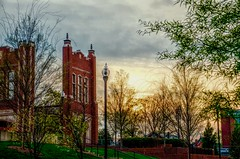 Love Among the Ruins; I wish you all a happy weekend. (Roland 22) Tags: flickr light gray clouds sky sunset evening park trees marsh courtyard lights gate footballstadium ruins universityoftennesseeatchattanooga chattanoogatennessee