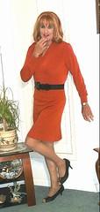 Orange Skirt n Blouse (bobbievnc) Tags: tgirl crossdresser redhair longhair hair blouse skirt short tighrskirt shortskirt pantyhose pantyhoselegs tanpantyhose heels highheels pumps