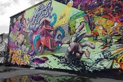 Meeting of styles street art, London (Westhamwolf) Tags: street city red bus london art garden graffiti meeting styles nomadic