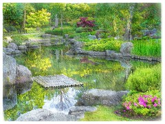 Kyoto garden, London (Solly Avenue) Tags: travel painterly london gardens photomanipulation garden landscape impressionism digitalphotoart ipadpainting ipadsketching painterlyapp