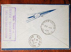 Air Bleu: 1st postal Mulhouse-Strasbourg connection, Advertising Cover, back (afvintage) Tags: posteaérienne inaugurationservicëpostalaérien mulhouseparis 1eravril1936 mulhouseavion strasbourg flèchebleue lettrebleue airmail 1140 14 36 131iv 1936 cover enveloppe cadrebleu