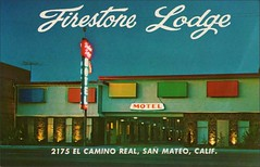 Firestone Lodge Motel, San Mateo, California (1950sUnlimited) Tags: advertising pools postcards hotels trailer advertisements motels midcentury lodges