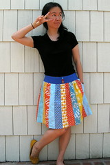 MMM day 9 (ayenforcraft) Tags: blue orange skirt patchwork heatherross deniseschmidt