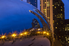 8_bean (RB Photography.) Tags: chicago colors architecture reflections lights twilight cityscapes noflash clear citylights nightshots bluehour cloudgate thebean chicagoskyline longexposures urbanamerican