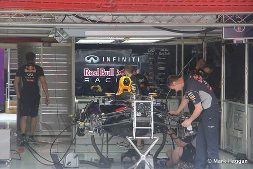 Sebastian Vettel's Red Bull pit garage at the 2013 Spanish Grand Prix