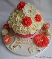 Ruby Wedding Giant Cupcake with Minis (Cupcake Creations by Cassandra) Tags: red west cake vintage giant gold board ivory mini pearls cupcake maker embossed yorks ruffled