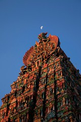 Happy Temple Friday :) (VinothChandar) Tags: light people moon india color colour colors beautiful beauty architecture canon temple photography evening photo architechture colorful photos pics vibrant religion amman picture vivid pic unesco temples 5d hindu society hinduism madurai tamilnadu archeological hindutemple southindia meenakshi templesofsouthindia canoneos5dmarkii sundareswarar