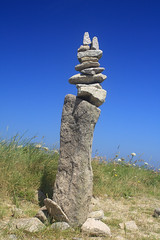 Upright tall cairn (euclid1956) Tags: france brittany cairn