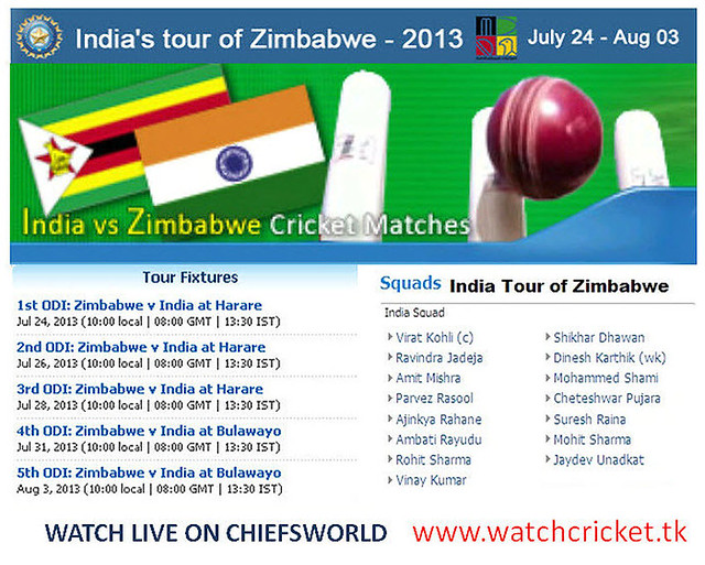 INDIA VS ZIMBABWE ODI SERIES 2013 SCHEDULE