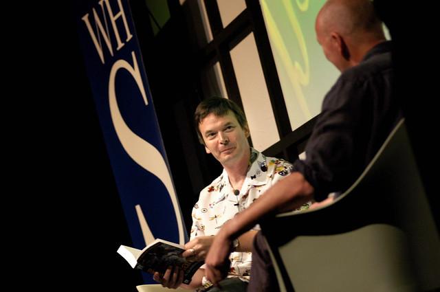 Ian Rankin on stage at the 2003 Edinburgh International Book Festival