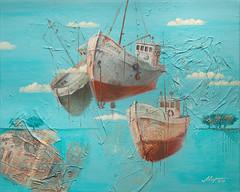 Air dock (dmirilen) Tags: color art collage illustration boats petersburg exhibition canvas