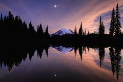 Mount Rainier Reflection (jeremyjonkman) Tags: park sky cloud reflection nature night clouds sunrise canon stars photography eos washington mark jeremy mount national ii rainier 5d jonkman