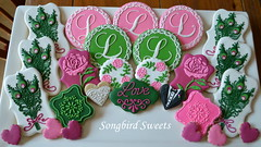 Pink & Green Wedding Collection (Songbird Sweets) Tags: flowers wedding roses cookies hearts peacockfeathers songbirdsweets