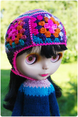 Pepe in neon colours (megipupu) Tags: square doll handmade helmet blythe granny megipupu