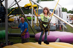 Float like a butterfly (TheeErin) Tags: carnival summer people girl childhood amusement jump community day child ride labor happiness fair jeans entertainment bungee annual carney waterford bounce laborday tomboy carnie 2013 carnytown