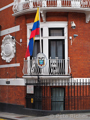 PQ220196 Julian Assange releases statement on Ed Snowden from Ecuadorean embassy  22.06.2013 (pete riches) Tags: signs london poster ecuador chelsea unitedkingdom flag cia surveillance prism police cctv gb banners securitycameras anonymous deathpenalty snowden pentagon sanctuary placards usarmy execution prosecution nsa latricolor statedepartment whistleblower metpolice gchq whistleblowing surveillancecameras hanscrescent rafaelcorrea swedishgovernment politicalasylum wikileaks viennaconvention ecuadorembassy julianassange assange ecuadorflag peteriches freebradleymanning bradleymanning cablegate edsnowden rapeallegations swedishprosecutor ecuadoreanflag