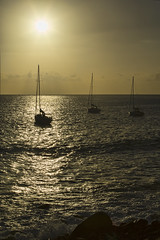Madeira: Sunset @ Paul do Mar (Mr.Enjoy) Tags: light sunset sun reflection beach beautiful silhouette contrast relax boats island gold islands golden coast three waves sailing bright horizon lifestyle calm enjoy hour resting yachts vela madeira maktub pauldomar madswell