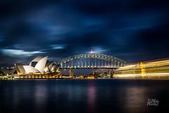 Leaving (Mike Hankey.) Tags: city sunset sydney operahouse harbourbridge