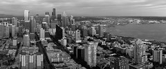 B&W or color? (Michael Mendonca) Tags: ocean seattle sunset people panorama white black water skyline night buildings boats happy washington nikon view place state pacific harbour thing space needle tall d700