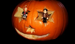 The Dr & Amy celebrating haloween with a pumpkin