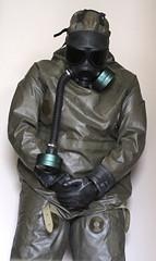 Heavy Rubber Hazmat (nggmrbbr) Tags: black hot green fetish nbc mask rubber hose gas sweaty suit gloves filter heavy hazmat chemical m40 enclosed respirator bundesheer schutzanzug