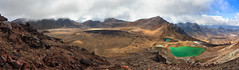 Emerald Lakes and Central Crater panorama (Emily Miller Kauai) Tags: newzealand panorama volcano crossing lakes hike alpine northisland tongariro emerald centralcrater